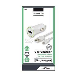 Vivanco USB punjač za auto, kabel 1m, 2.4A, za iPhone, iPad i iPod