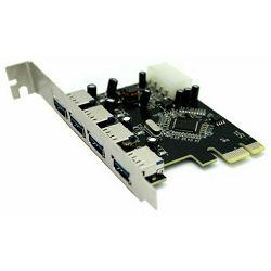Asonic USB 3.0 adapter PCI express (x1), Chipset VL800, 4 priključka USB 3.0, podržano : USB 3.0, U